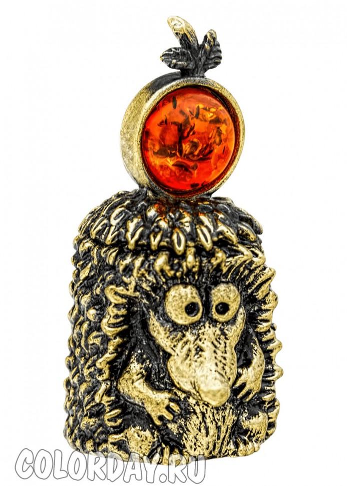 коллекционный наперсток Ежик с Яблоком из бронзы с янтарем ...