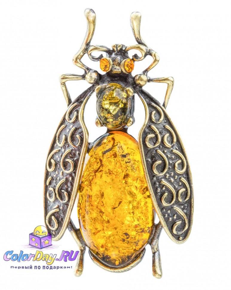4559136d9ffb бижутерия с янтарем брошь Жук Темный из серии насекомые купить