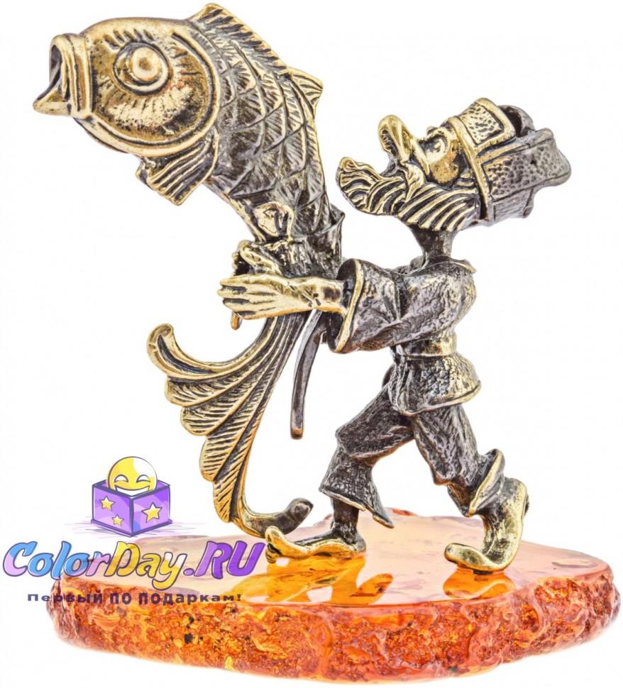 """композиция из бронзы и янтаря - статуэтка """"Старик и ..."""